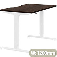 Zoom Height Adjustable Sit Stand Office Desk Scallop Top W1200mmxD700mmxH685-1185mm Dark Walnut Top White Frame - Prevents & Reduces Muscle & Back Problems, Poor Circulation & Increases Brain Activity.