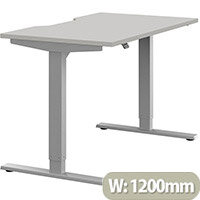 Zoom Height Adjustable Sit Stand Office Desk Scallop Top W1200mmxD700mmxH685-1185mm Grey Top Silver Frame - Prevents & Reduces Muscle & Back Problems, Poor Circulation & Increases Brain Activity.