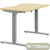 Zoom Height Adjustable Sit Stand Office Desk Scallop Top W1200mmxD700mmxH685-1185mm Maple Top Silver Frame - Prevents & Reduces Muscle & Back Problems, Poor Circulation & Increases Brain Activity.
