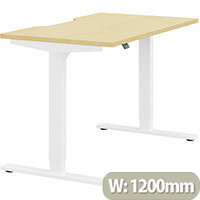 Zoom Height Adjustable Sit Stand Office Desk Scallop Top W1200mmxD700mmxH685-1185mm Maple Top White Frame - Prevents & Reduces Muscle & Back Problems, Poor Circulation & Increases Brain Activity.