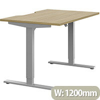 Zoom Height Adjustable Sit Stand Office Desk Scallop Top W1200mmxD800mmxH685-1185mm Urban Oak Top Silver Frame - Prevents & Reduces Muscle & Back Problems, Poor Circulation & Increases Brain Activity.