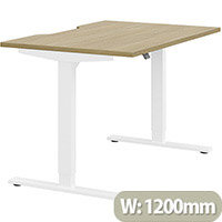 Zoom Height Adjustable Sit Stand Office Desk Scallop Top W1200mmxD800mmxH685-1185mm Urban oak Top White Frame - Prevents & Reduces Muscle & Back Problems, Poor Circulation & Increases Brain Activity.
