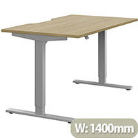 Zoom Height Adjustable Sit Stand Office Desk Scallop Top W1400mmxD800mmxH685-1185mm Urban Oak Top Silver Frame - Prevents & Reduces Muscle & Back Problems, Poor Circulation & Increases Brain Activity.