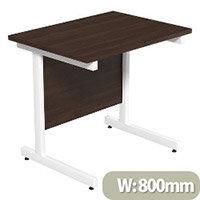 Cantilever Rectangular Return Office Desk White Legs W800xD600xH725mm Dark Walnut Ashford