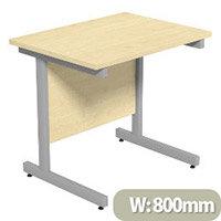 Cantilever Rectangular Return Office Desk Silver Legs W800xD600xH725mm Maple Ashford