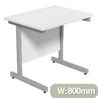 Cantilever Rectangular Return Office Desk Silver Legs W800xD600xH725mm White Ashford