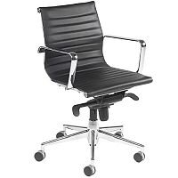 Aria A Medium Back Black Modern Leather Office Armchair With Chrome Arms and Chrome Base AM2
