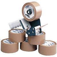Tape Dispenser With 6 Rolls Polypropylene Tape 50mmx66m (Pack of 6)