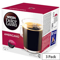 Nescafe Caffe Americano House Blend for Dolce Gusto Machine Capsules - Makes 48 Cups of Coffee. Smooth and Mild Medium Roast Coffee. 100% Arabica Coffee Intensity 4 /11