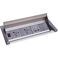 Aero Fliptop In-table Power Module 2 x UK Sockets, 2 x RJ45 Sockets, 1 x twin USB Fast Charge - Grey/Silver