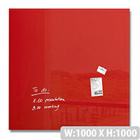 Sigel Artverum Magnetic Glass Whiteboard 1000x1000mm Red GL202