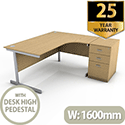 Ashford 1600mm Right Hand Desk With FREE Drawers and Filing Pedestal Desk High Beech