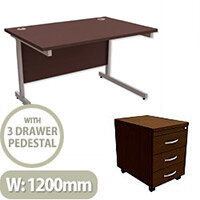 Office Desk Rectangular Silver Legs W1200mm With Mobile 3-Drawer Pedestal Dark Walnut Ashford