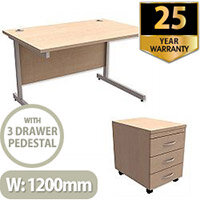Office Desk Rectangular Silver Legs W1200mm With Mobile 3-Drawer Pedestal Maple Ashford