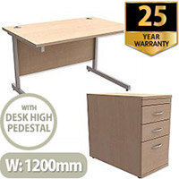 Office Desk Rectangular Silver Legs W1200mm With 800mm Deep Desk High Pedestal Maple Ashford