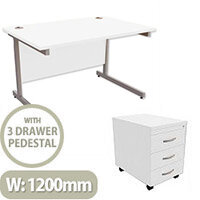 Office Desk Rectangular Silver Legs W1200mm With Mobile 3-Drawer Pedestal White Ashford
