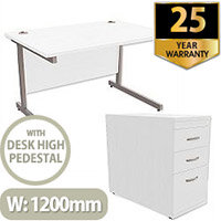 Office Desk Rectangular Silver Legs W1200mm With 800mm Deep Desk High Pedestal White Ashford