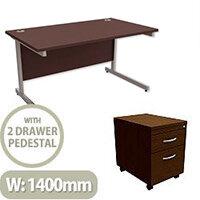 Office Desk Rectangular Silver Legs W1400mm With Mobile 2-Drawer Pedestal Dark Walnut Ashford