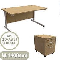 Office Desk Rectangular Silver Legs W1400mm With Mobile 2-Drawer Pedestal Urban Oak Ashford  – Cantilever Desk & Extra Storage , 25 Year Warranty