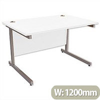 Office Desk Rectangular Silver Legs W1200mm White Ashford