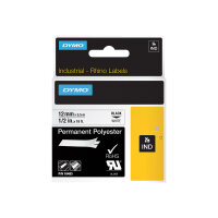 DYMO - Polyester - black on white - Roll (1.2 cm x 5.5 m) 1 roll(s) permanent tape - for DYMO 1000 Plus; LabelMANAGER 100; Rhino 4200, 6000, 6000 Hard Case Kit; RhinoPRO 5000