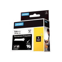 DYMO Rhino Permanent Polyester - Polyester - permanent adhesive - black on white - Roll (0.6 cm x 5.5 m) 1 roll(s) tape - for Rhino 6000, 6000 Hard Case Kit