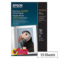 Epson Premium Glossy Photo Paper - Glossy - A4 (210 x 297 mm) 15 sheet(s) photo paper - for Expression Home XP-455; Expression Home HD XP-15000; Expression Premium XP-6000, 6005