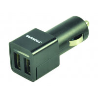 Duracell - Car power adapter - 2.4 A - 2 output connectors (USB) - black