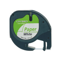 DYMO LetraTAG - Paper - black on white - Roll (1.2 cm x 4 m) 1 roll(s) tape - for LetraTag LT-100H, LT-100T