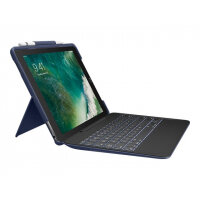Logitech Slim Combo - Keyboard and folio case - backlit - Apple Smart connector - UK English classical blue case - for Apple 10.5-inch iPad Pro