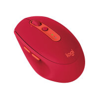 Logitech M590 Silent - Mouse - right-handed - optical - 7 buttons - wireless - Bluetooth, 2.4 GHz - USB wireless receiver - ruby