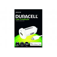 Duracell - Car power adapter - 2.4 A (USB) - on cable: Lightning - white - for Apple iPad/iPhone/iPod (Lightning)