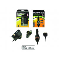 Duracell - Battery charger + car power adapter - black - for Apple iPhone/iPod