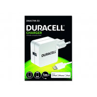 Duracell DMAC11W - Power adapter (USB) - white - for Apple iPad/iPhone/iPod (Lightning)