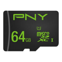 PNY High Performance - Flash memory card (microSDXC to SD adapter included) - 64 GB - UHS-I U1 / Class10 - microSDXC UHS-I