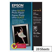 Epson Ultra Glossy Photo Paper - Glossy - 100 x 150 mm 20 sheet(s) photo paper - for Expression Home XP-455; Expression Home HD XP-15000; Expression Premium XP-540, 6000, 6005