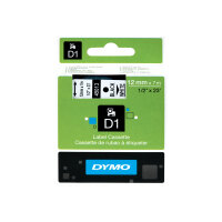 DYMO D1 - Self-adhesive - white on black - Roll (1.2 cm x 7 m) 1 roll(s) label tape - for LabelMANAGER 160, 210D, 210D Kit, 210D Kit Case, 280, 360D, 420P, 420P Kit, 500TS, PnP