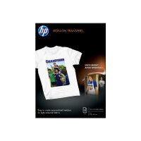 HP - A4 (210 x 297 mm) 12 pcs. iron-on transfers - for Envy 5055, 7645; Officejet 5255, 6000 E609, 7500; PageWide MFP 377; PageWide Pro 452