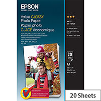 Epson Value - Glossy - A4 (210 x 297 mm) - 183 g/m² - 20 sheet(s) photo paper - for Epson L386; Expression Home XP-455; Expression Home HD XP-15000; Expression Premium XP-900