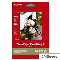Canon Photo Paper Plus Glossy II PP-201 - High-glossy - 270 micron - 130 x 130 mm - 265 g/m² - 20 sheet(s) photo paper - for PIXMA iP110, iP1980, iP4870, iP8770, iX6560, iX6770, MP258, MX727, PRO-1, PRO-10, 100
