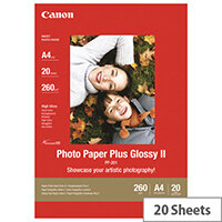 Canon Photo Paper Plus Glossy II PP-201 - Glossy - A4 (210 x 297 mm) - 275 g/m² - 20 sheet(s) photo paper - for PIXMA iP100, iP2600, iP2700, iX7000, MG2555, MG8250, MX7600, MX850, PRO-1, PRO-10, 100