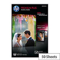 HP Premium Plus Photo Paper - Glossy - 100 x 150 mm - 300 g/m² - 50 sheet(s) photo paper - for Envy 5055, 7645; Officejet 5255, 76XX; PageWide MFP 377; PageWide Pro 452; Photosmart 5525