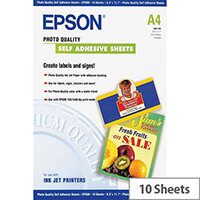 Epson Photo Quality Self Adhesive Sheets - Self-adhesive - A4 (210 x 297 mm) - 167 g/m² - 10 pcs. sheets - for Expression Home HD XP-15000; Expression Premium XP-540, 6000, 6005, 900