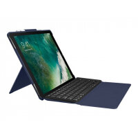 Logitech Slim Combo - Keyboard and folio case - backlit - Apple Smart connector - UK English - classic blue - for Apple 12.9-inch iPad Pro (1st, 2nd Gen)