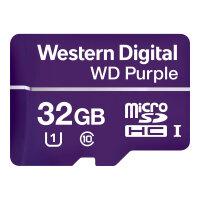 WD Purple WDD032G1P0A - Flash memory card - 32 GB - UHS-I U1 / Class10 - microSDHC - purple