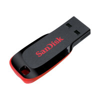 SanDisk Cruzer Blade - USB flash drive - 32 GB - USB 2.0 - red, sleek black