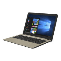 "ASUS X540MA DM344T - Celeron N4000 / 1.1 GHz - Win 10 Home 64-bit - 4 GB RAM - 1 TB HDD - 15.6"" 1920 x 1080 (Full HD) - UHD Graphics 600 - chocolate black IMR with hairline (LCD cover), gold IMR with hairline (top)"