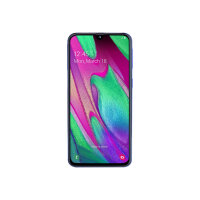 "Samsung Galaxy A40 - Smartphone - dual-SIM - 4G LTE - 64 GB - microSDXC slot - GSM - 5.9"" - 2340 x 1080 pixels (439 ppi) - Super AMOLED - RAM 4 GB (25 MP front camera) - 2x rear cameras - Android - blue"
