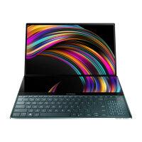 "ASUS ZenBook Pro Duo UX581GV H2001R - Core i9 9980HK / 2.4 GHz - Win 10 Pro 64-bit - 32 GB RAM - 1 TB SSD NVMe - 15.6"" OLED touchscreen 3840 x 2160 (Ultra HD 4K) - GF RTX 2060 / UHD Graphics 630 - Bluetooth, Wi-Fi - celestial blue"