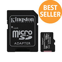 Kingston Canvas Select Plus - Flash memory card (microSDXC to SD adapter included) - 128 GB - A1 / Video Class V10 / UHS Class 1 / Class10 - microSDXC UHS-I
